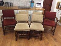 Set of six oak dining chairs