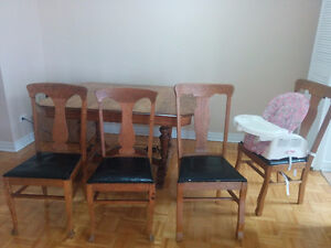 4 Beautiful Vintage Wood/Leather Chairs - $130