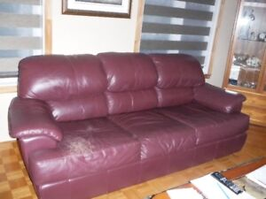 Leather Sofa and 2 Loveseats