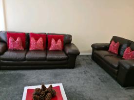 Genuine Dark Brown Leather Sofas