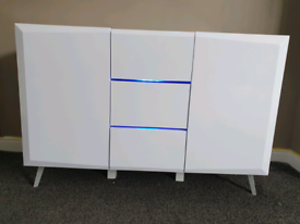 White LED illuminated high gloss furniture. Excellent condition!