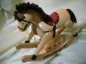 vintage mini wooden musical Rocking Horse