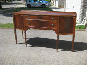 Exquisite Antique Serpentine Front Sideboard, Table, Chairs