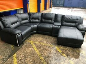 HARVEYS HEDGE MOOR Black reclining corner sofa ex display model