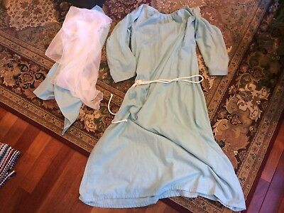 Light Blue Robe Rope Belt 2 Scarfs Sheppard Blessed Mother Costume L Child/Adult - Sheppard Costume