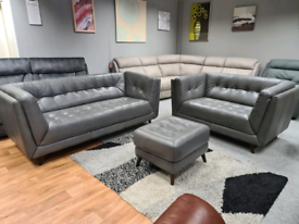 Brand new Sofology sofa 3+2+Footstool Genuine Leather