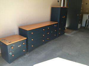 3 Part Dresser, Hutch, and Night Stand.
