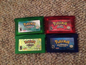 Various Pokémon games for the Gameboy Advanced