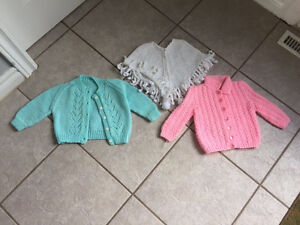 Lot of 2 knitted sweaters & 1 poncho