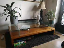 Wooden and glass coffee table