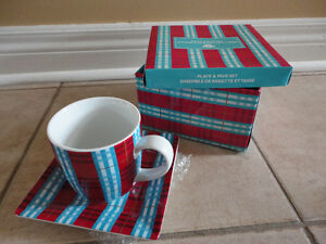 Second cup red/blue plaid coffee mug and saucer plate set New London Ontario image 1