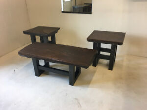 """48"""" Authentic Timber Coffee Table and Side Tables"""