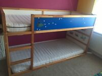High/ bunk kids bed with 2 Ikea mattresses