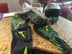 Dirt Bike Helmet and Riding Pants