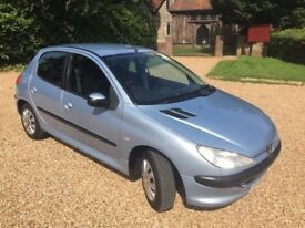 Silver/Blue Peugeot 206 1.2 with long MOT