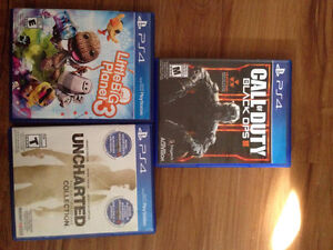 Ps4 games. Black ops 3, Littlebig planet 3, Uncharted collection