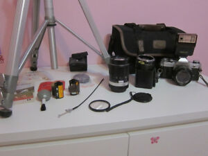Canon AE-1 35mm Film Camera; Lenses, Flash, Bag, Film, Tripod