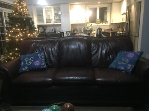 Leather sofa,chair and center table