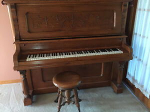 Antique Beethoven Upright Grand Piano With Stool