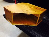 Solid pine corner wall mount tv stand