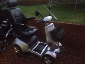 Venu 2 mobility scooter, silver with black leather captains seat