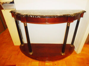 Bombay Co Half-Moon Sofa Table Cherry Wood & Black Marble Top