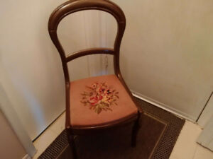 Chair, Antique, Mahogany, with seat Patterned motif.