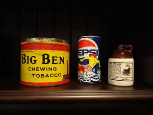 Vintage Chewing Tobacco Tin, 1990 Pepsi Can & Reproduction Jug