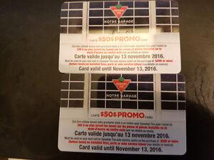 Carte cadeau 50$ chez Canadian Tire, valide pneus OU réparation