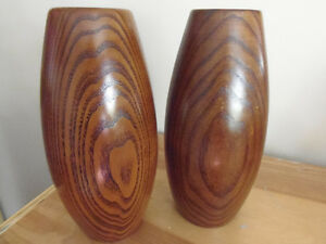 Pair Walnut Wooden Lathe Turned Oblong Beautifully Grained Vases