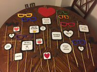 Photo booth prop signs/glasses/moustaches