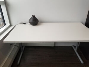 Sturdy Office White Desk, laptop cable hook.