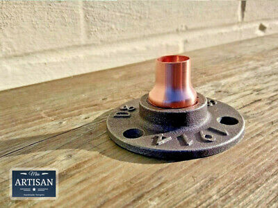 15mm Copper Malleable Iron Floor Wall Flange Pipe Mount Fits 15mm Copper Pipe