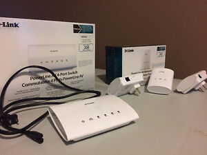 3 D-link Powerline Network Adapters & 4-Port Switch