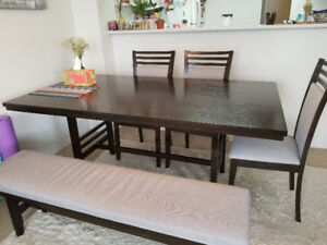 Beautiful dining table with bench and chairs