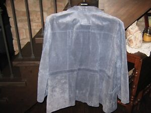 Womens Blue Leather Suede Jacket Kawartha Lakes Peterborough Area image 4