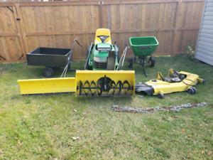 John Deere G110 with attachments
