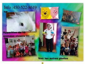 Magicien fête anniversaire pour enfants +10 animaux 450-522-8619