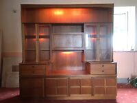 Teak dinner room cabinet and matching table and 6 chais