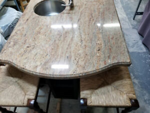 Granite counter top with kitchen island