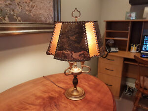 Antique Brass Table Lamp with Leather Shade