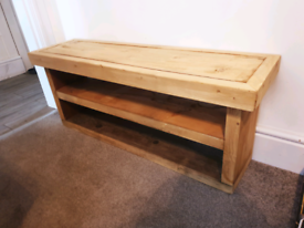 Solid wood shoe storage bench natural