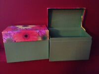 Greeting Card Storage Boxes - $2 for both.