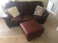 3seater brown leather sofa + footstall