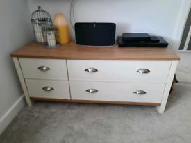 Oak veneer & cream coffee table/TV unit/storage - Very/Consort Tivoli