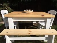 Rustic Pine Table, Chairs & 2 Benches