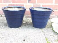 Matching blue planters