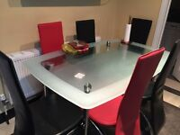 Black and red dining table chairs