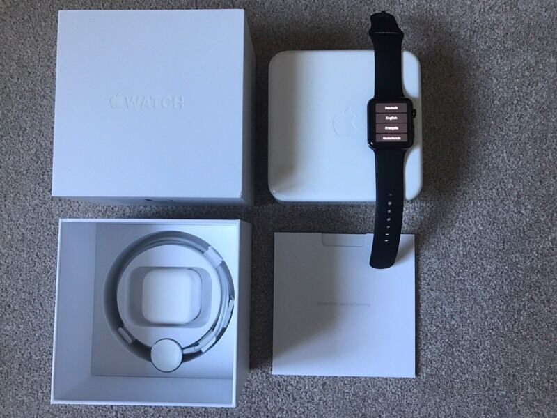 Apple Watch 42mm BLACK STAINLESS STEEL CASE Black Sport Bandin Middlesbrough, North YorkshireGumtree - I am selling my used 42mm black STAINLESS STEEL Apple watch. Purchased in July 2015 from UK apple store. In excellent condition, not a single scratch or mark on it. Supplied with UK USB power adapter incl. Magnetic charging cable original box. Retail...
