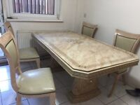 Dining Table (With Extension Piece & 4 Chairs)
